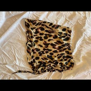 Brown leopard ruched side mini skirt